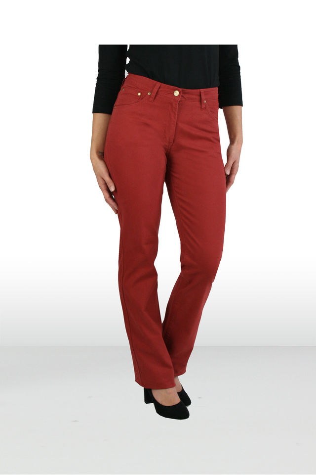 Coloured Pant Straight Teracotta